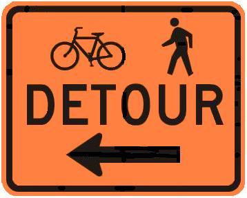 DETOUR Bicycle & Pedestrian with Arrow