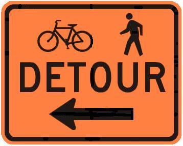 DETOUR Bicycle & Pedestrian with Arrow