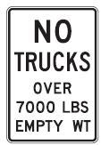 No Trucks Over Certain Empty Weight