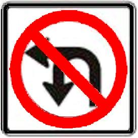 No U-Turn or Left Turn symbol