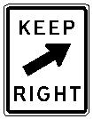 KEEP RIGHT oblique arrow