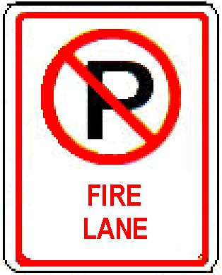 No Parking symbol FIRE LANE