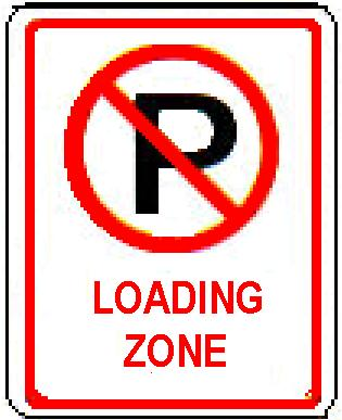No Parking symbol LOADING ZONE