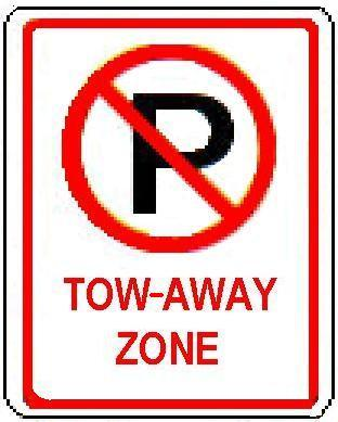 No Parking symbol TOW-AWAY ZONE