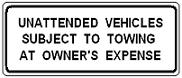 Unattended Vehicles Subject to Towing