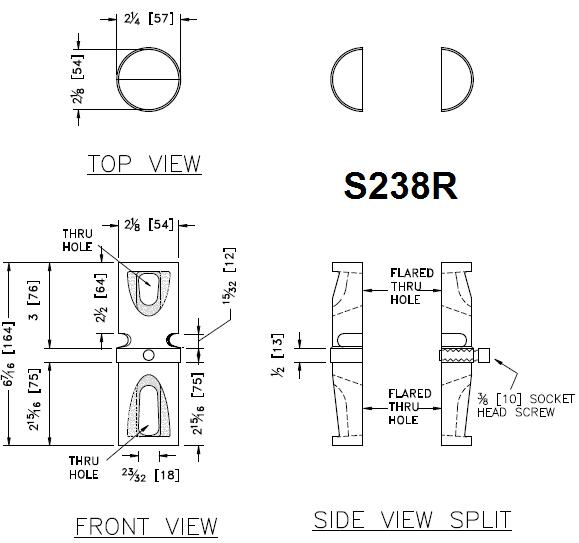 Round Pipe Post Coupler 13- to 16 gauge Detail