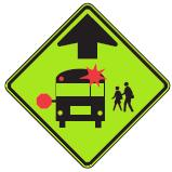School Bus Stop warning symbol