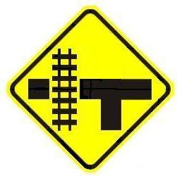 Railroad T-Intersection - Side Warning - Left