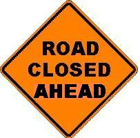 Road Closed Ahead - Roll-up Sign