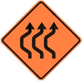 Double-Reverse Curve Detour - Three Lanes
