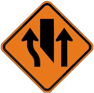 Center Lane Closed Ahead symbol