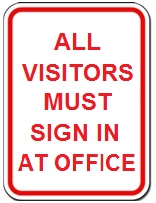 All Visitors Must Sign in at Office - Red